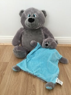 Grey bear and snuggle blanket set - blue