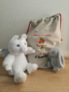 Gift set: personalised santa sack, teddy and bunny