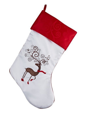 Stocking - white with fancy reindeer in red socks