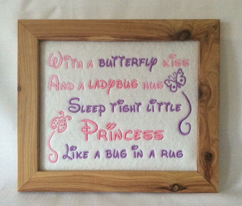 With a butterfly kiss and a ladybug hug - Framed wall hanging