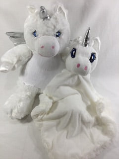 White unicorn and snuggle blanket set