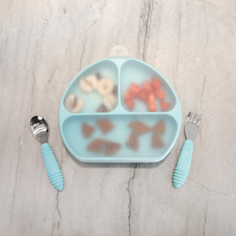 blue divided suction plate with lid and utensils