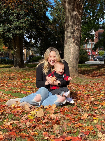 playing in the leaves with toddler
