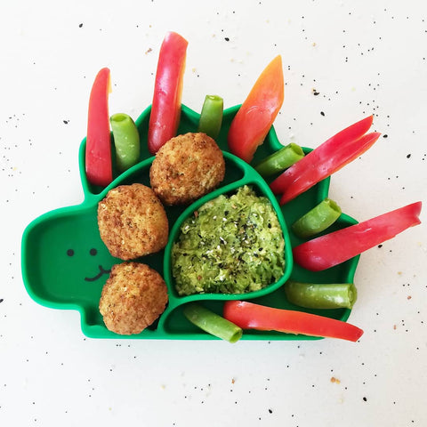 dinosaur toddler plate with fun-shaped food