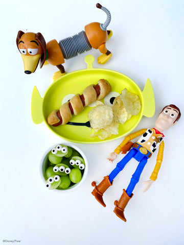 toy story themed meal in alien toddler plate