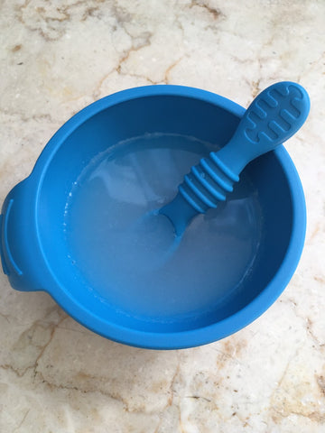 AM rice water in toddler dish