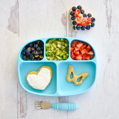toddler plate with fruit and banana cookies