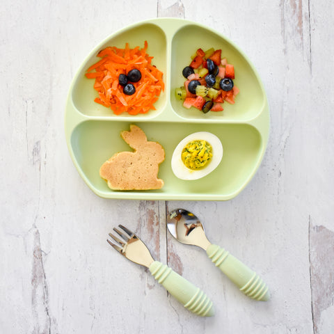 easter breakfast themed meal in toddler plate