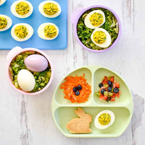 easter breakfast in a toddler plate with bunny and eggs