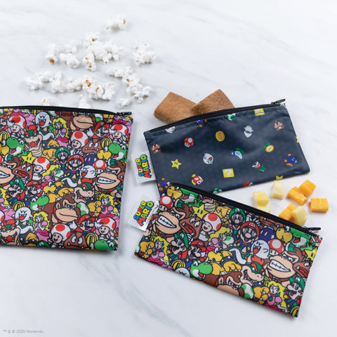 super mario reusable bags with snacks in them