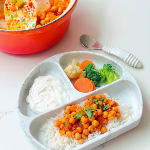 authentic chana masala in a toddler dish