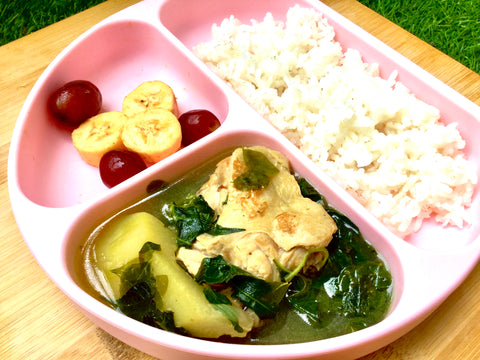 tinola in a divided toddler plate