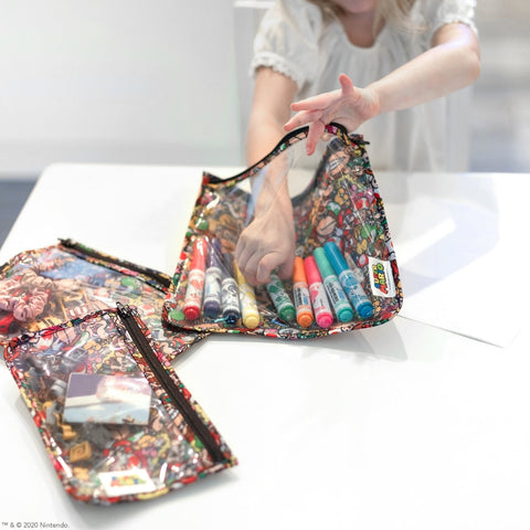 clear reusable travel bags with mario print holding crafts and markers