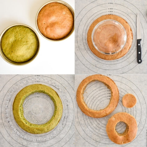 layered cake assembly step by step pieces