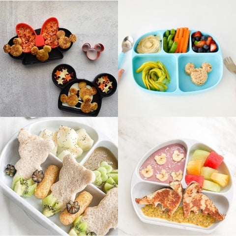 fun-shaped ideas for toddler food in divided plates