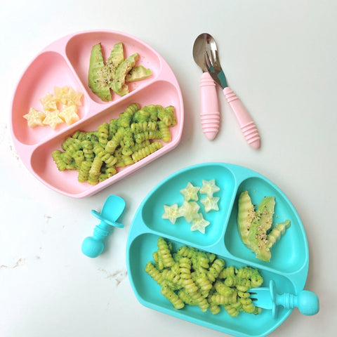 easy pea pesto pasta in two dishes for toddlers