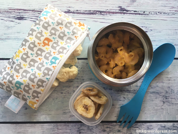 Petit Collage Snack bag and Macaroni and cheese for lunch