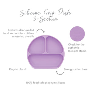 Silicone Grip Dish with Lid (3 Section): Lavender