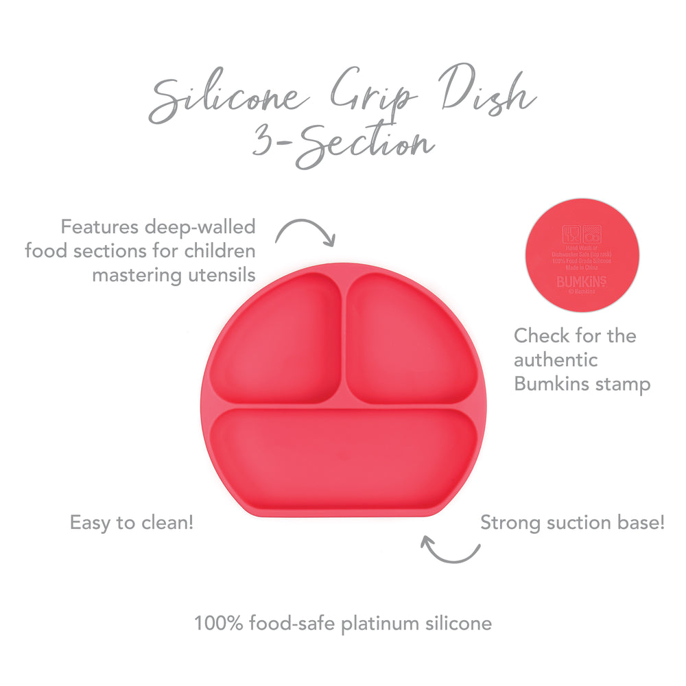 Silicone Grip Dish: Red