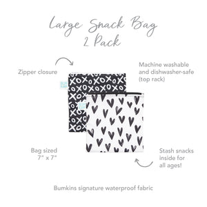 Reusable Snack Bag, Large 2-Pack: XOXO & Hearts