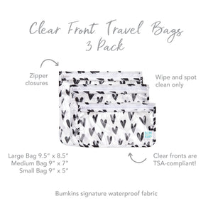 Clear Travel Bag 3-Pack: Hearts
