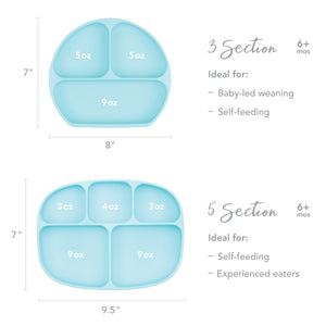 Silicone Grip Dish with Lid (3 Section): Blue