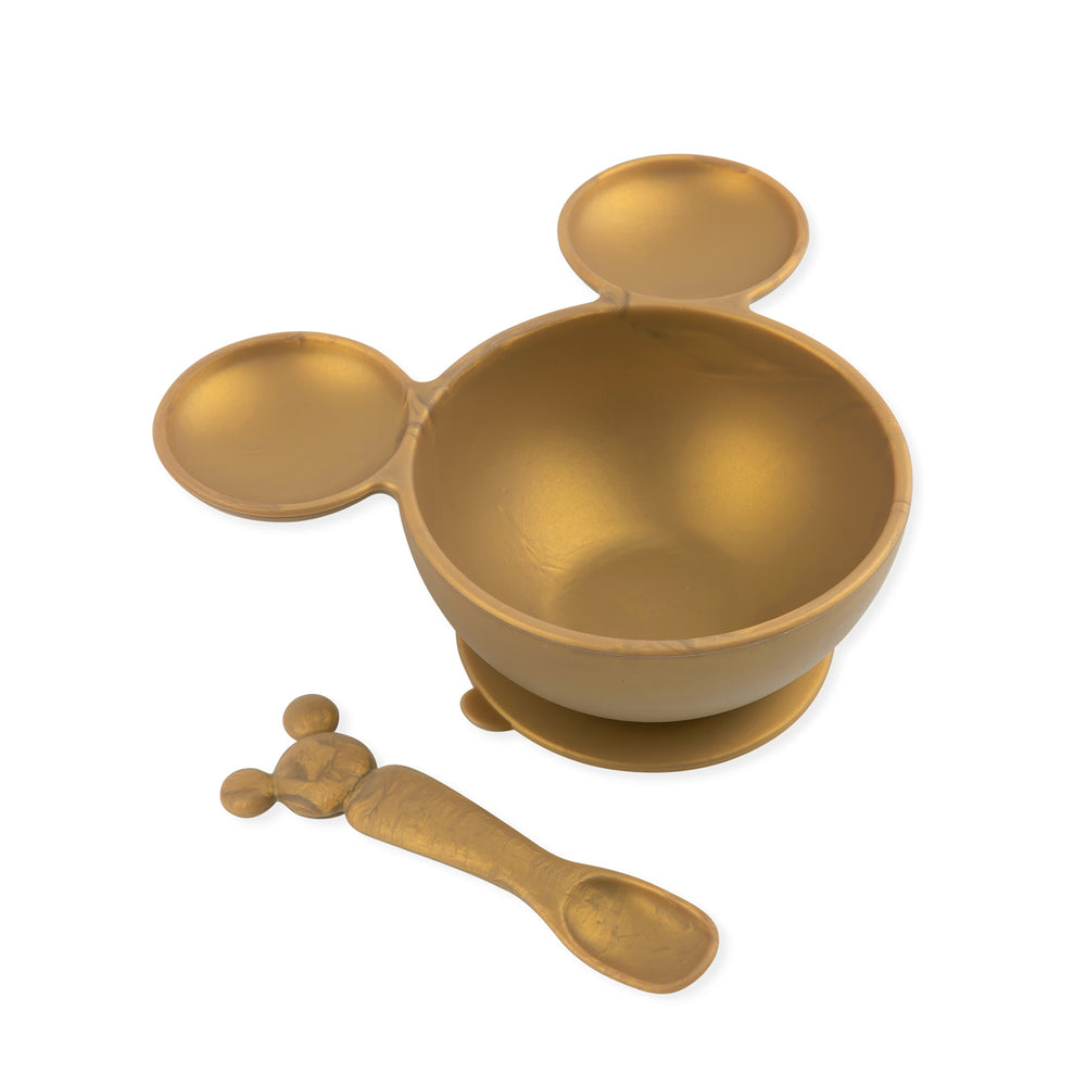 Silicone First Feeding Set: Minnie Mouse Gold