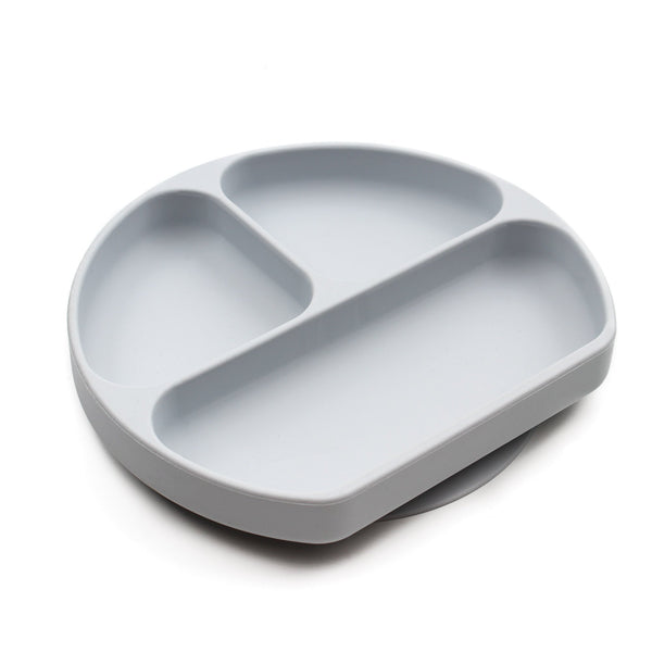 gray silicone suction plate for kids