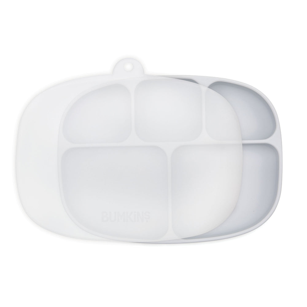 Silicone Grip Dish with Lid (5-Section): Gray