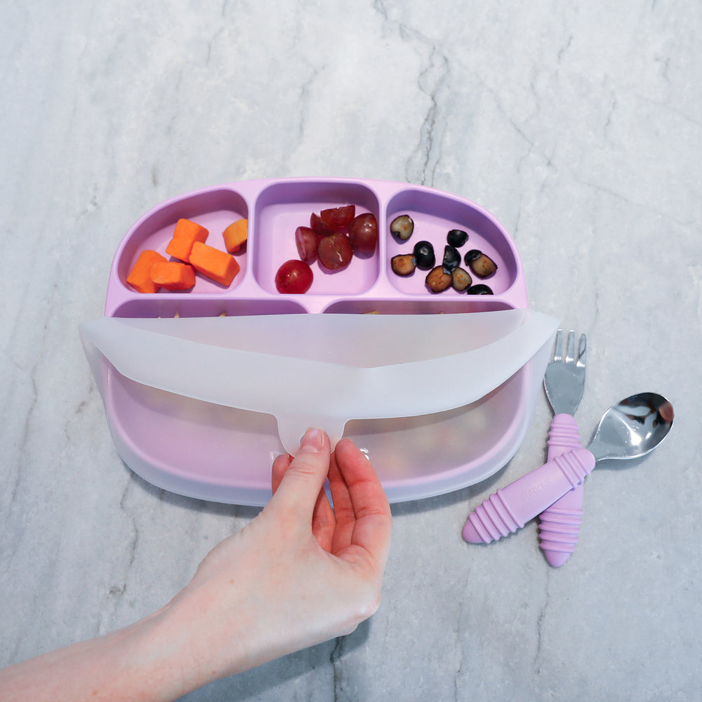 Silicone Grip Dish with Lid (5 Section): Lavender