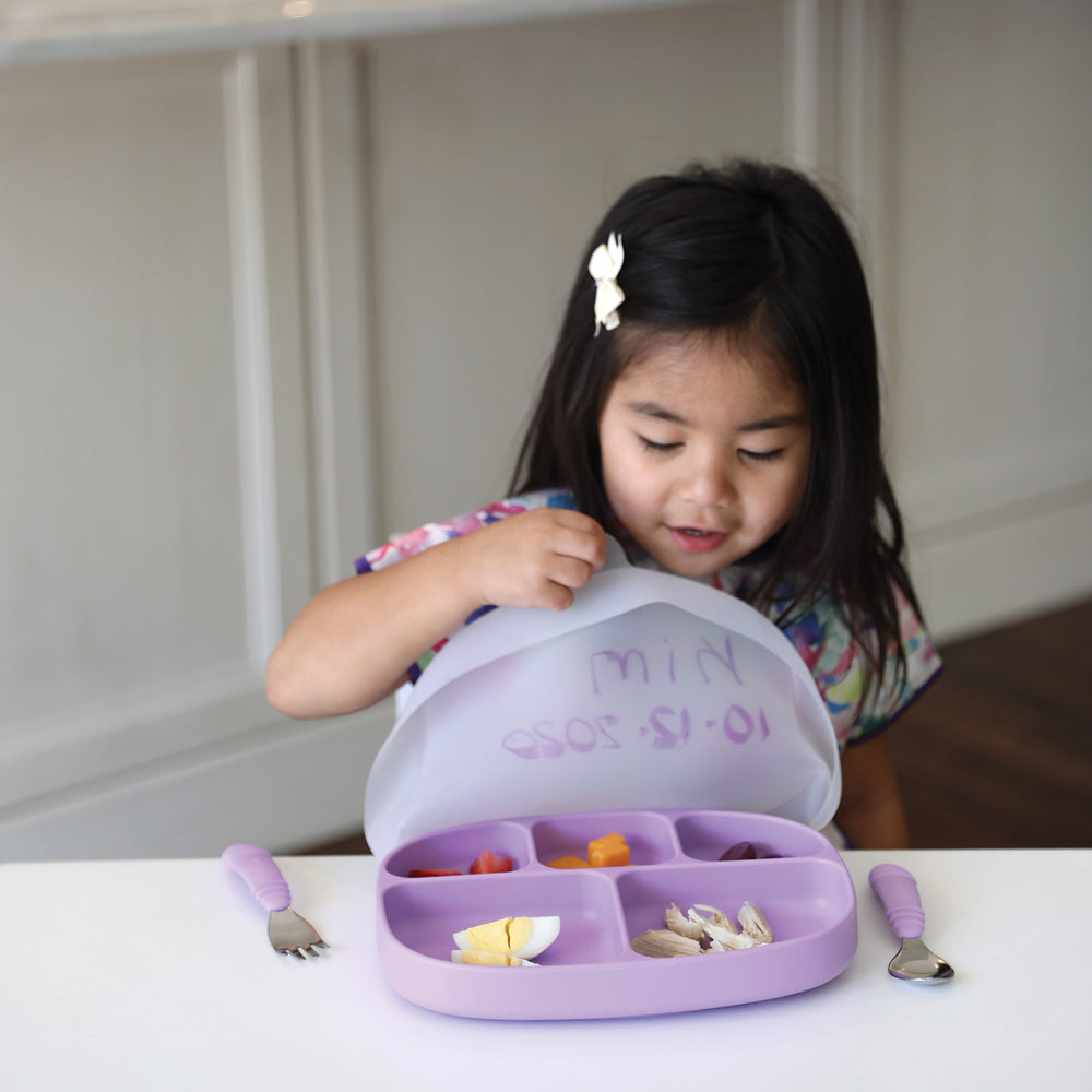 Silicone Grip Dish with Lid (5-Section): Lavender