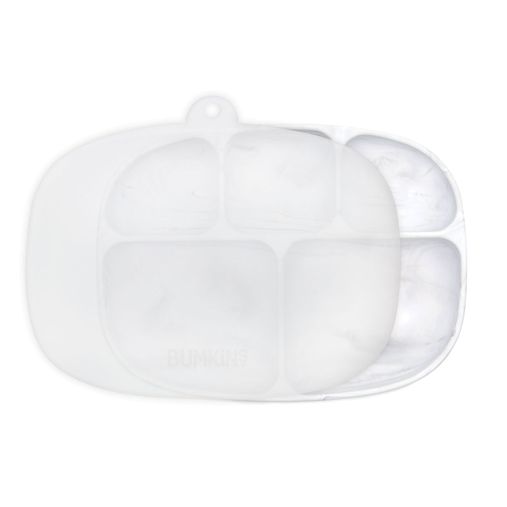 Silicone Grip Dish with Lid (5 Section): Marble