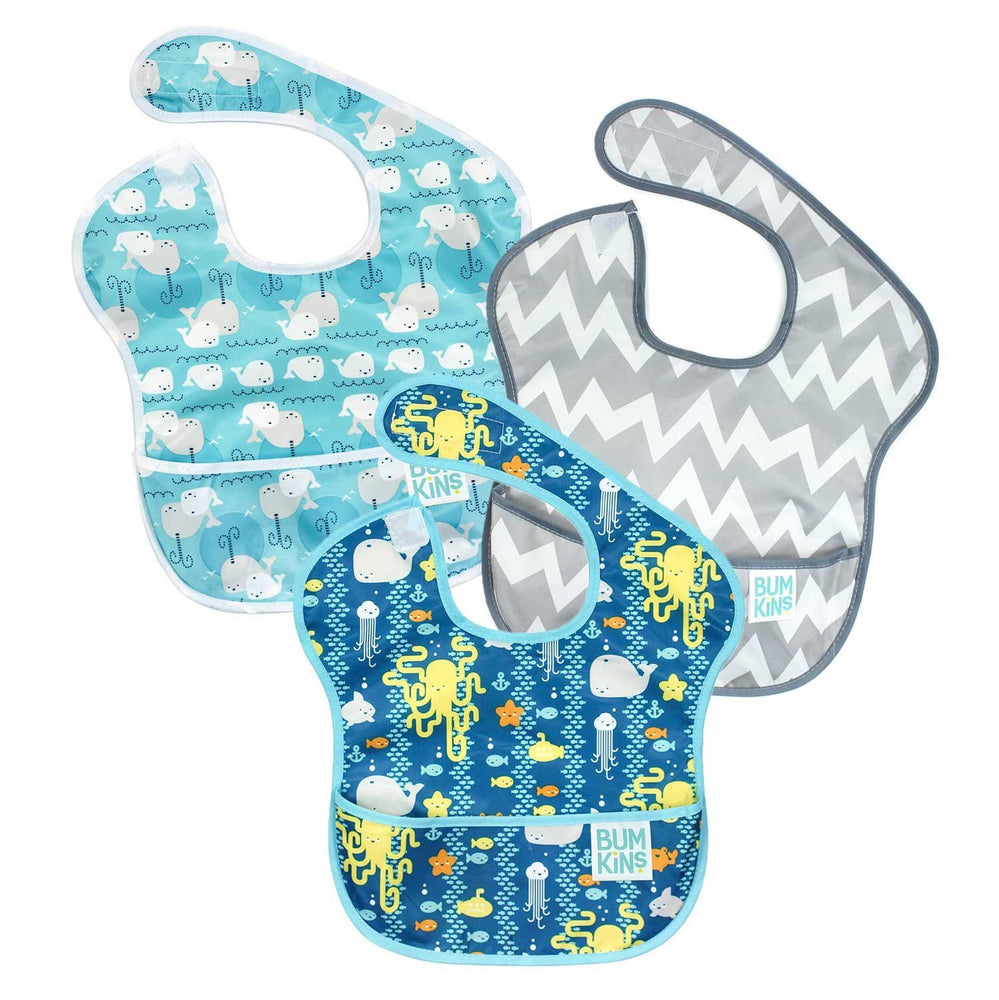 SuperBib® 3 Pack: Sea Friends, Gray Chevron, & Whales Away