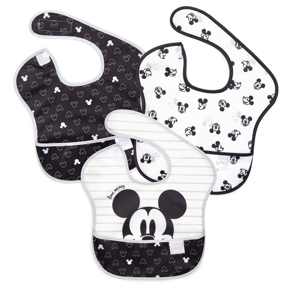 Mickey Mouse black and white baby bibs