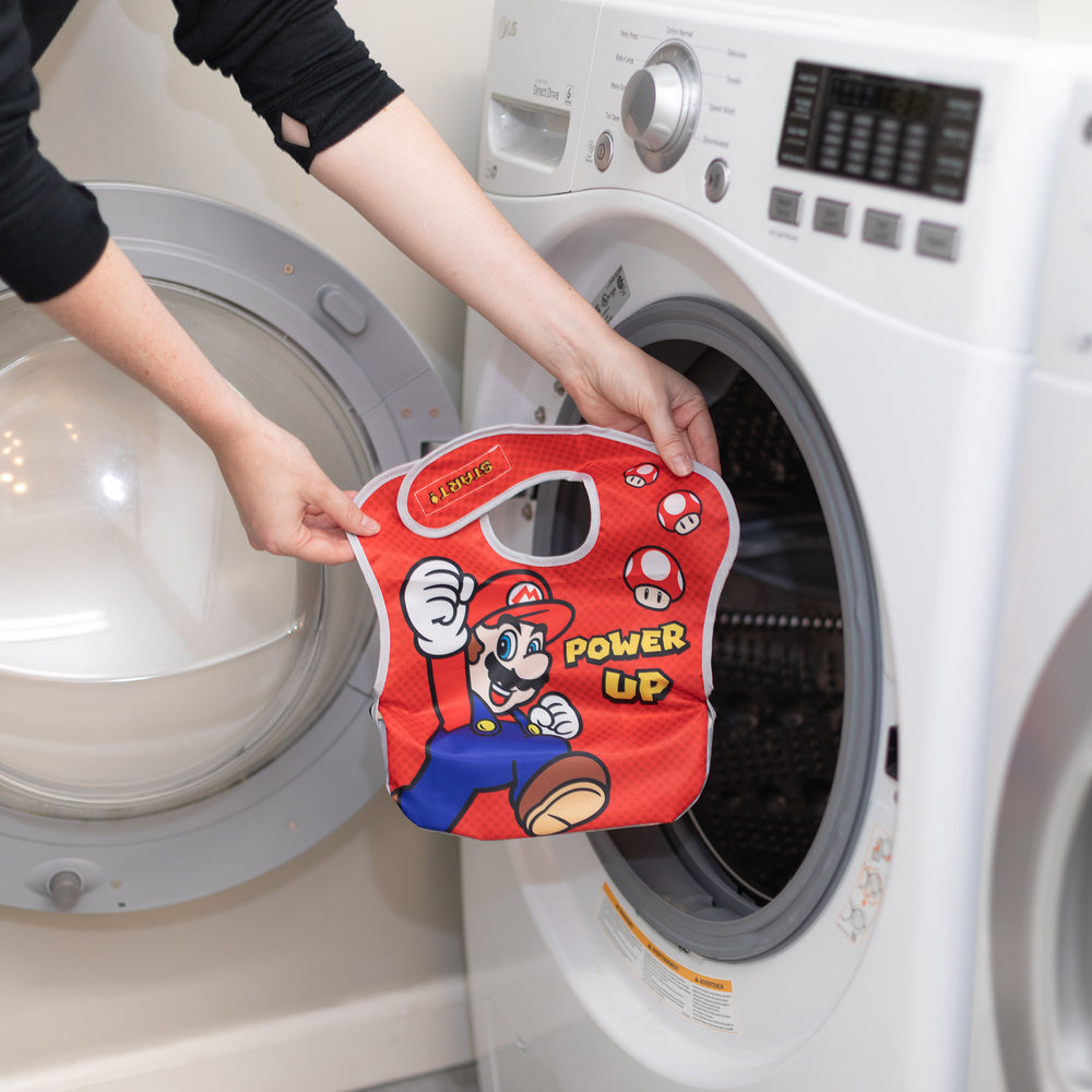 power up super mario bib in the washer