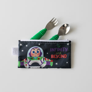 buzz light year bag with matching green utensils