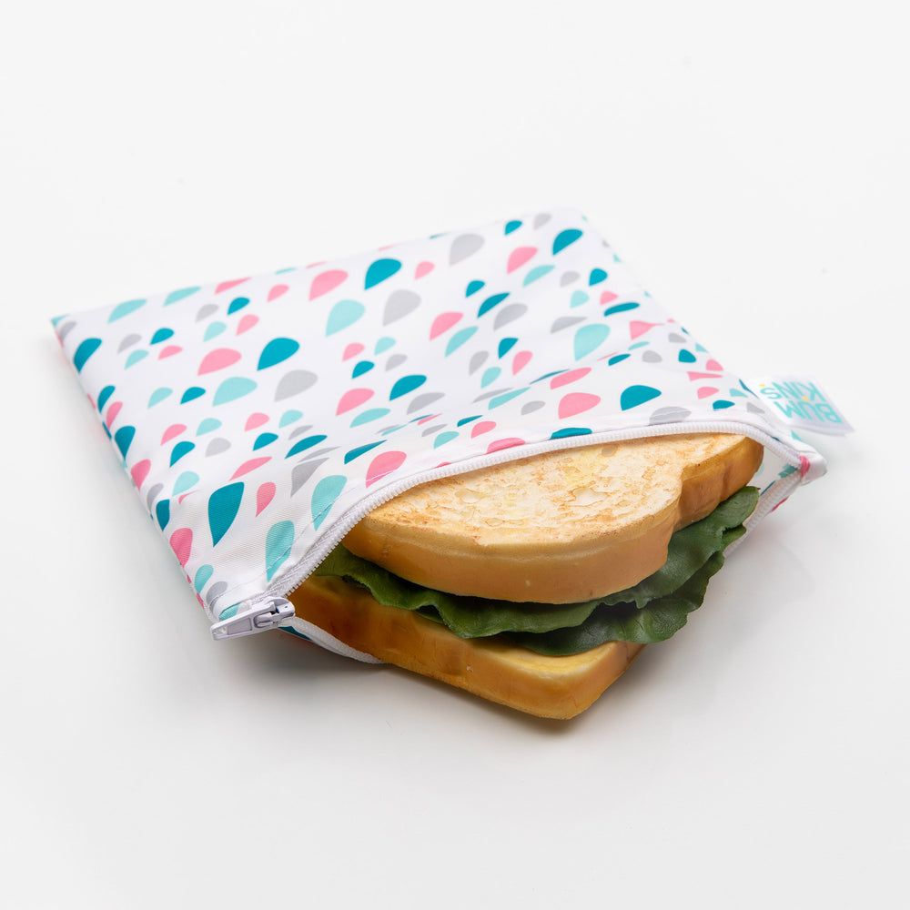 Reusable Snack Bag, Large: Raindrops