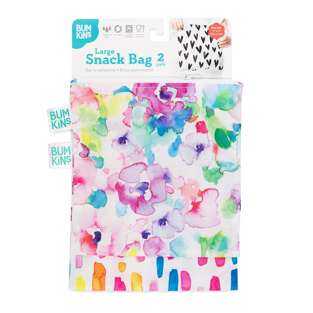 Reusable Snack Bag, Large 2-Pack: Watercolor & Brush Strokes