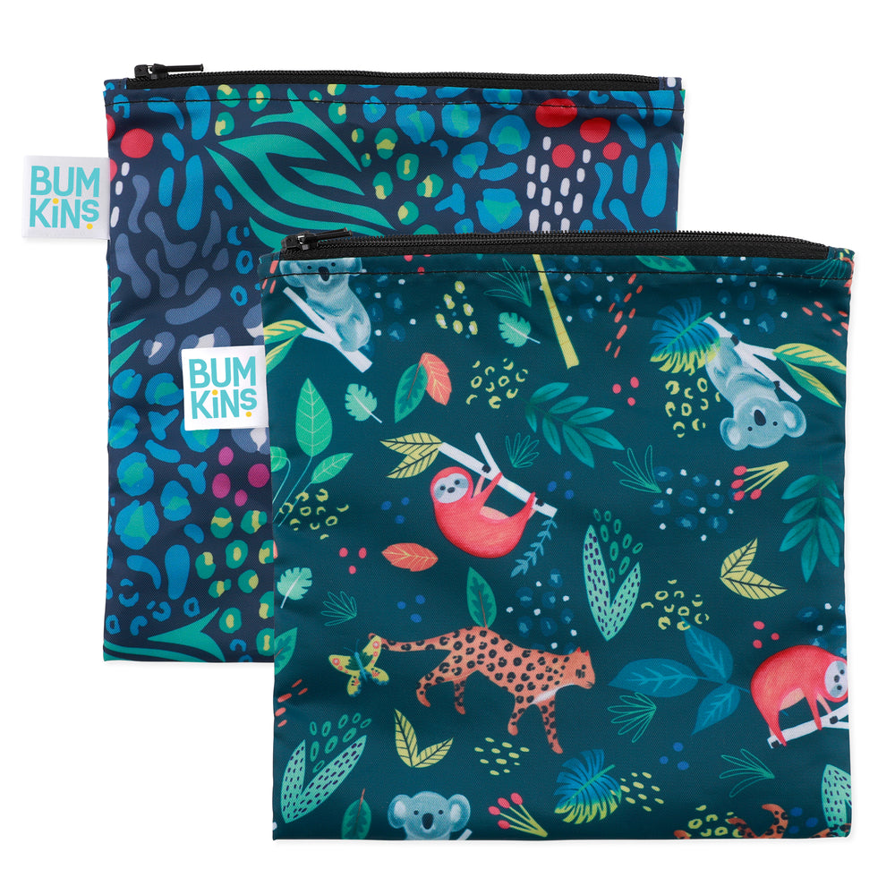 Reusable Snack Bag, Large 2-Pack: Jungle & Animal Prints