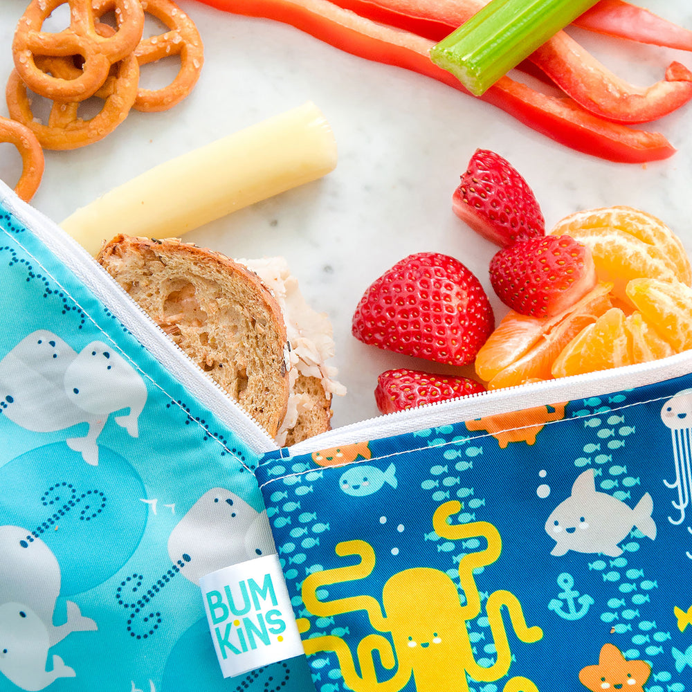 Reusable Snack Bag, Small 2-Pack: Sea Friends & Whales Away