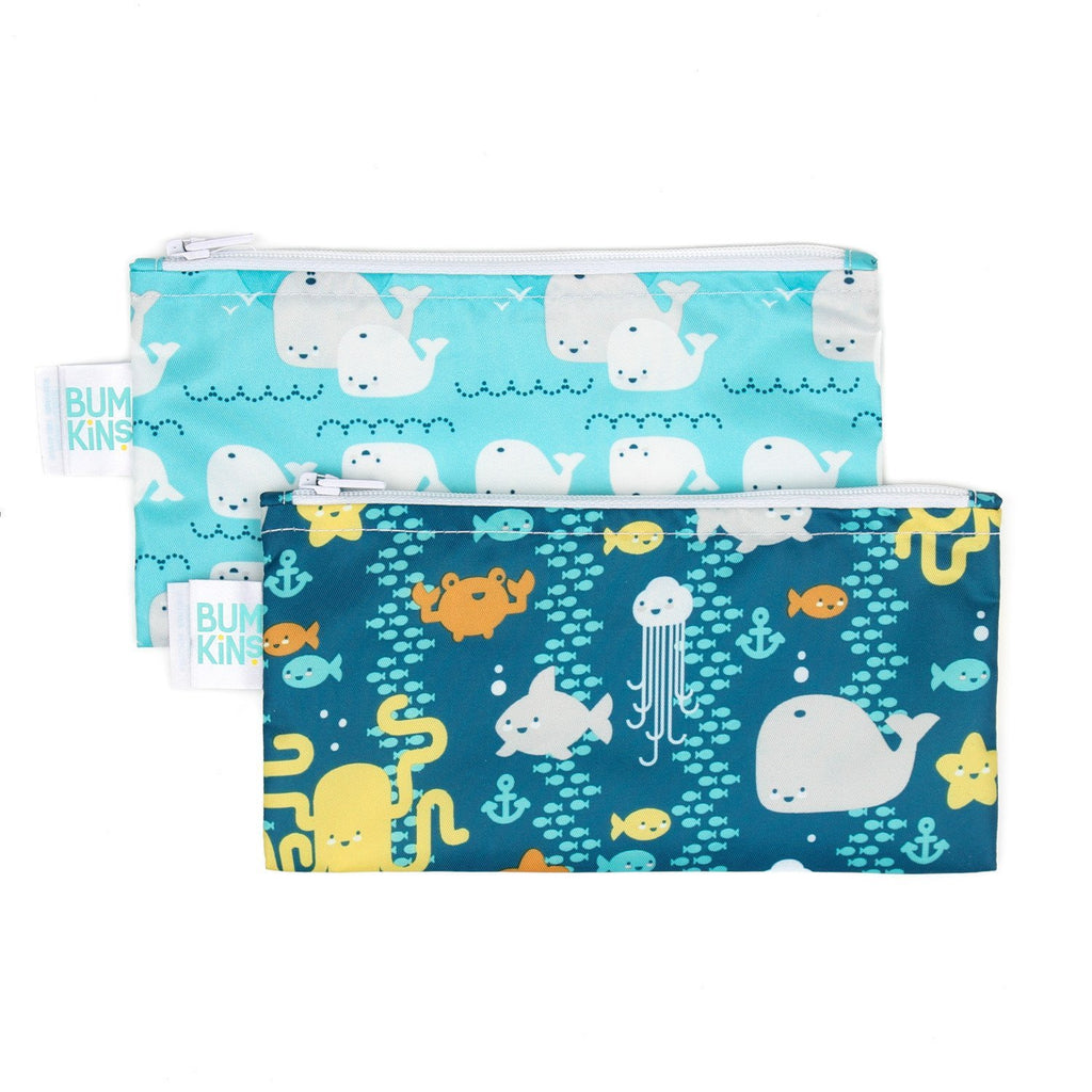 Reusable Snack Bag, Small 2 Pack: Sea Friends & Whales Away