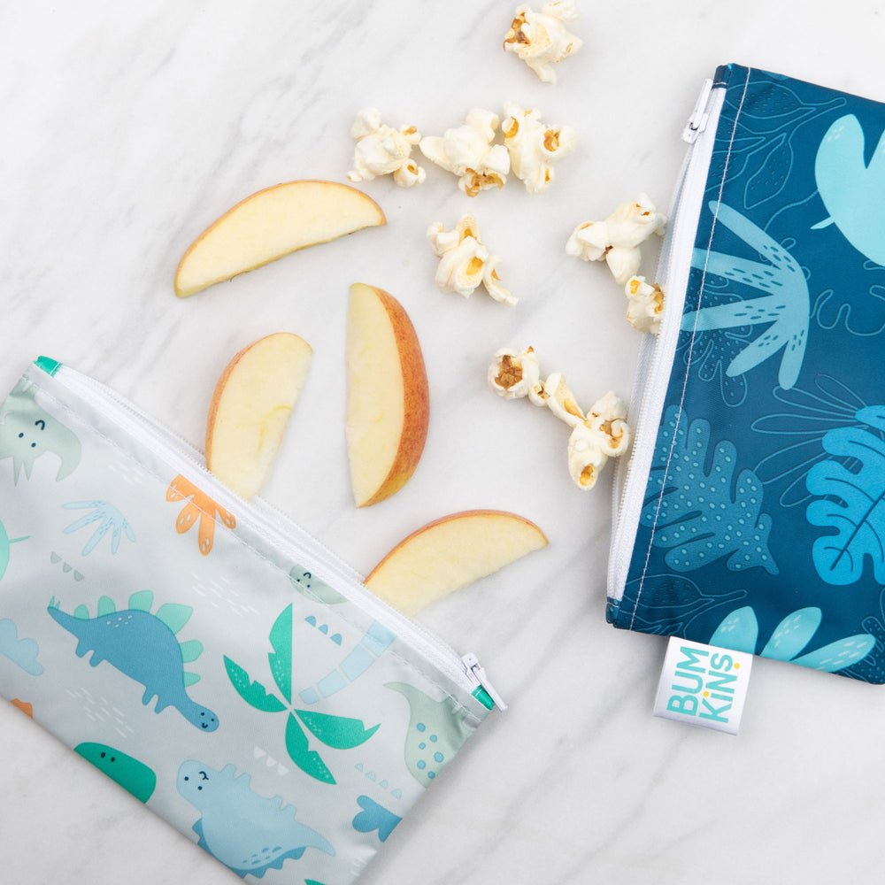 Reusable Snack Bag, Small 2-Pack: Dinosaurs & Blue Tropic