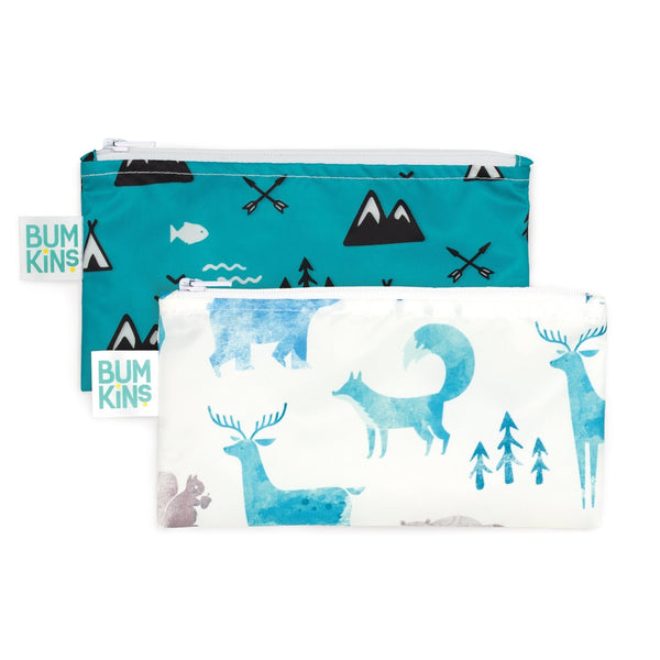 blue design reusable snack bags