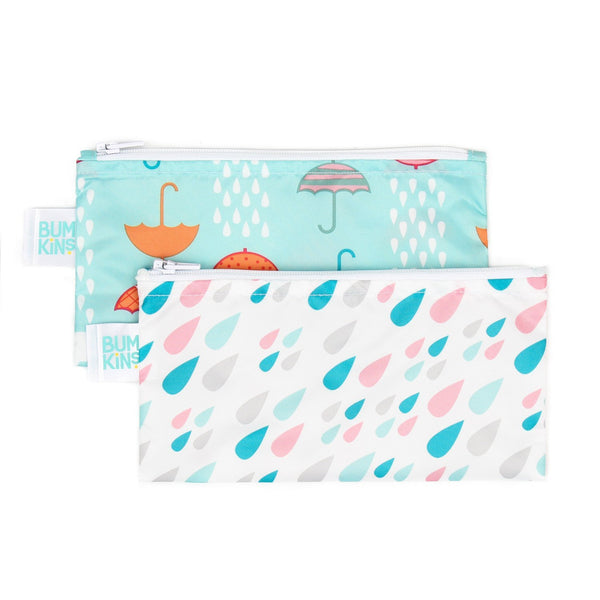 Reusable Snack Bag, Small 2-Pack: Raindrops & Umbrella
