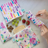 Reusable Snack Bag, Small 2-Pack: Watercolor & Brush Strokes
