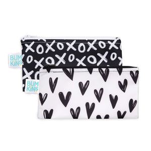 black and white snack bags