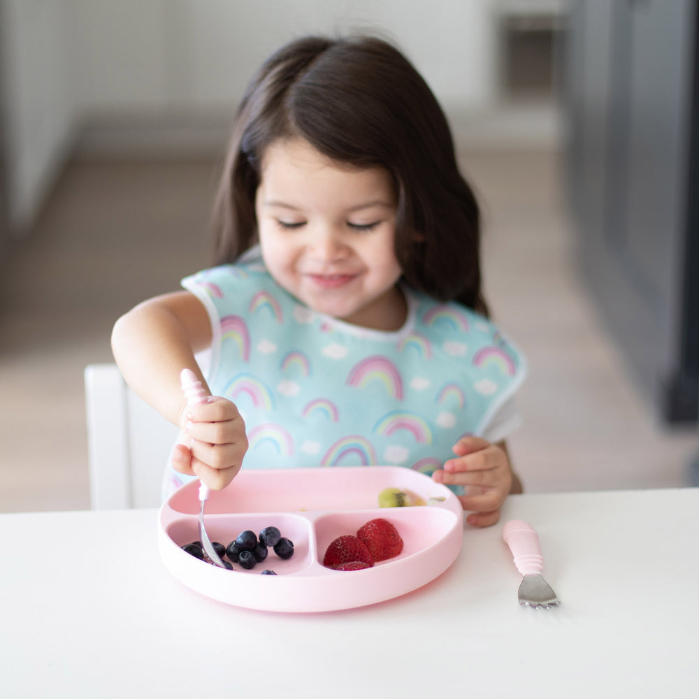 pink silicone toddler tableware