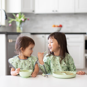 sage green toddler tableware