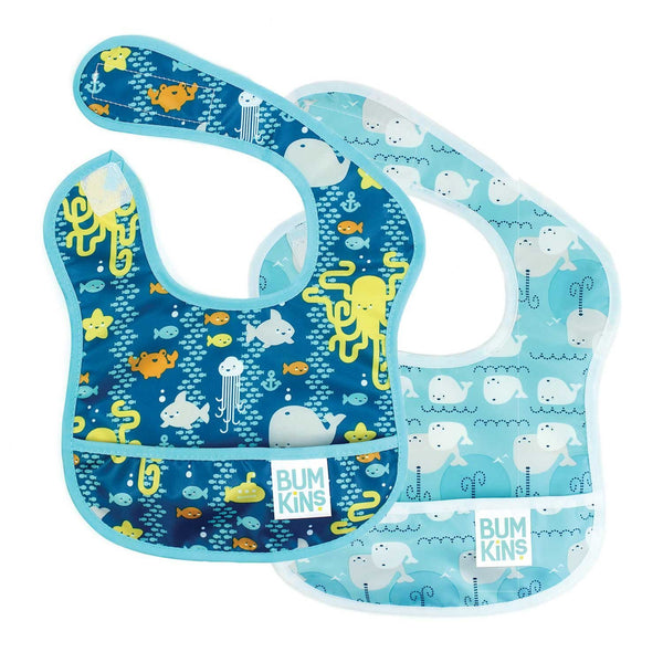 Starter Bib 2 Pack: Sea Friends & Whales Away