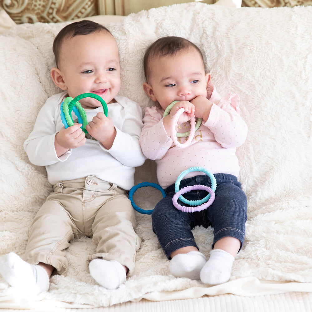 Silicone Teething Rings 4 Pack: Spring